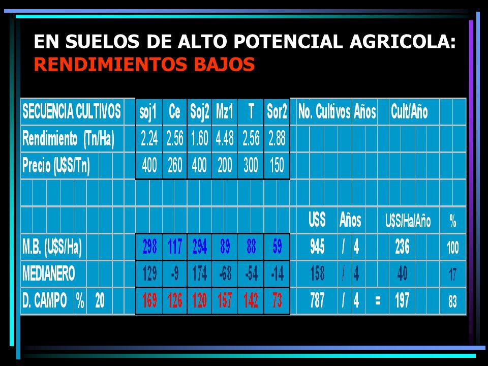 EN SUELOS DE ALTO POTENCIAL AGRICOLA: RENDIMIENTOS BAJOS