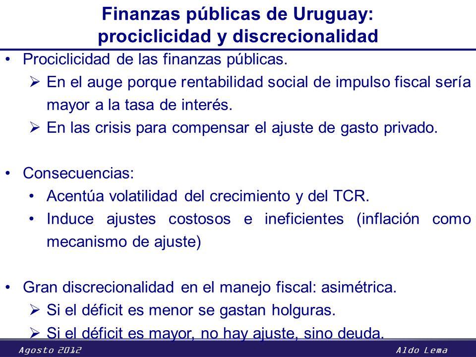 Agosto 2012Aldo Lema Finanzas públicas de Uruguay: prociclicidad y discrecionalidad Prociclicidad de las finanzas públicas. En el auge porque rentabil
