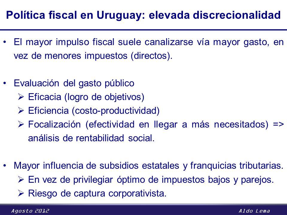 Agosto 2012Aldo Lema Política fiscal en Uruguay: elevada discrecionalidad El mayor impulso fiscal suele canalizarse vía mayor gasto, en vez de menores