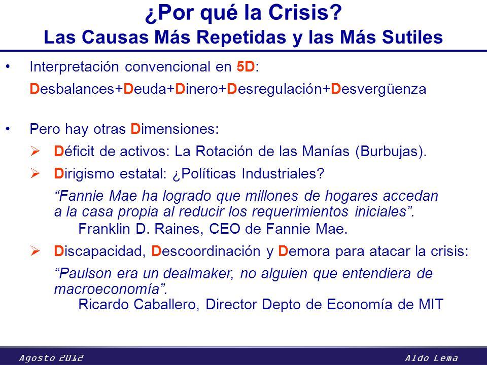 Agosto 2012Aldo Lema Interpretación convencional en 5D: Desbalances+Deuda+Dinero+Desregulación+Desvergüenza Pero hay otras Dimensiones: Déficit de act
