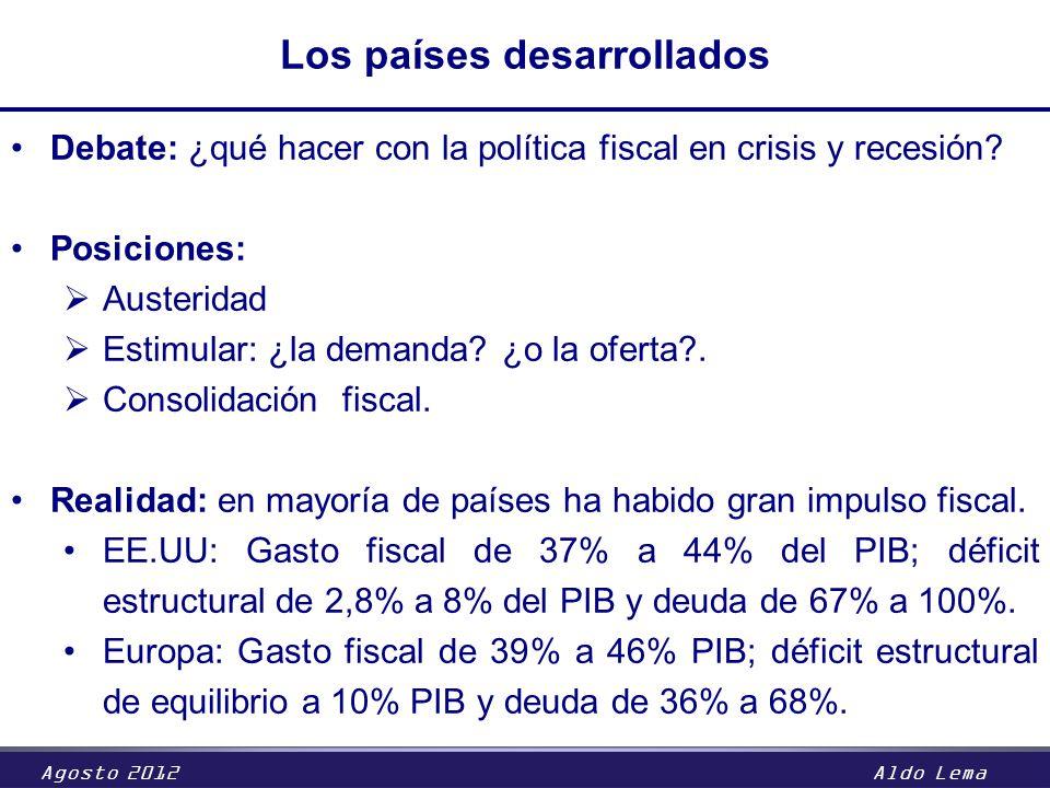 Agosto 2012Aldo Lema Los países desarrollados Debate: ¿qué hacer con la política fiscal en crisis y recesión? Posiciones: Austeridad Estimular: ¿la de