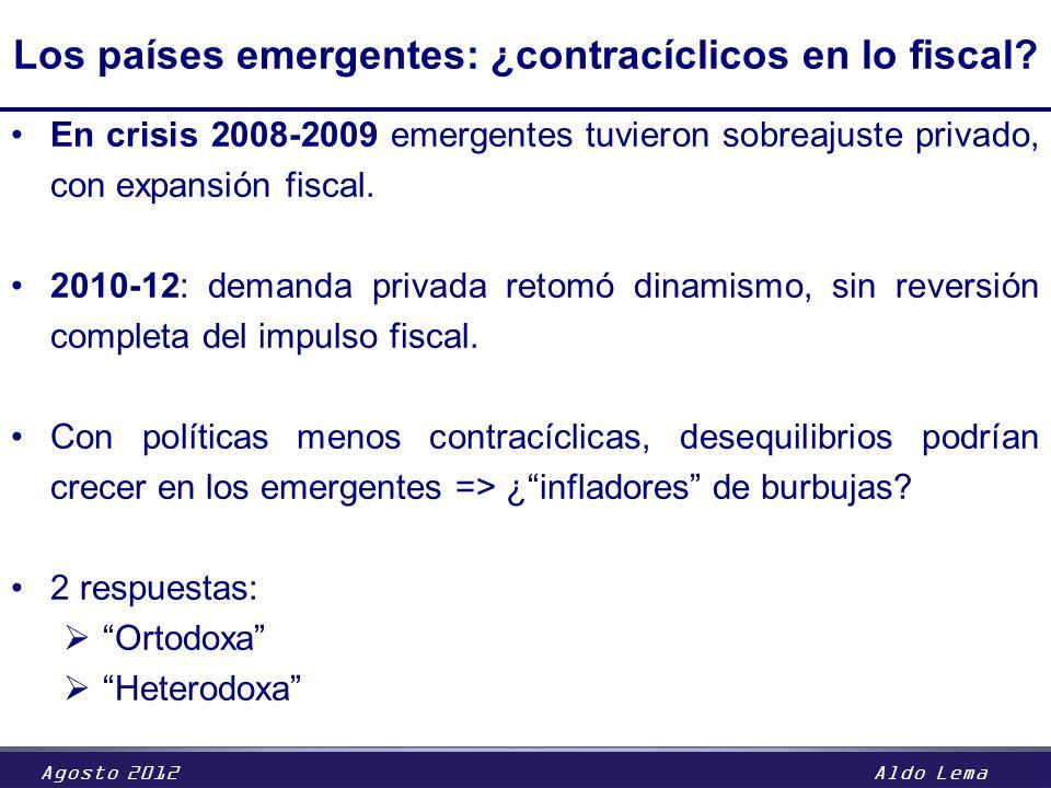 Agosto 2012Aldo Lema Los países emergentes: ¿contracíclicos en lo fiscal? En crisis 2008-2009 emergentes tuvieron sobreajuste privado, con expansión f