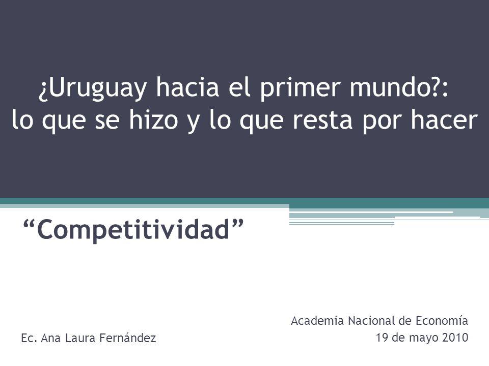 ¿Uruguay hacia el primer mundo?: lo que se hizo y lo que resta por hacer Competitividad Ec.