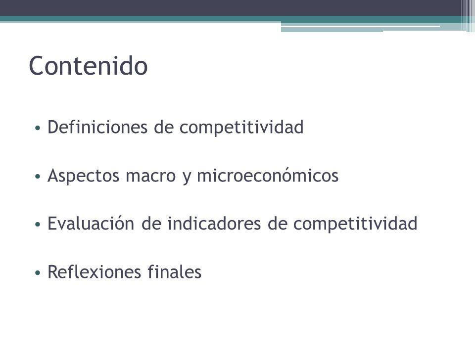 Contenido Definiciones de competitividad Aspectos macro y microeconómicos Evaluación de indicadores de competitividad Reflexiones finales