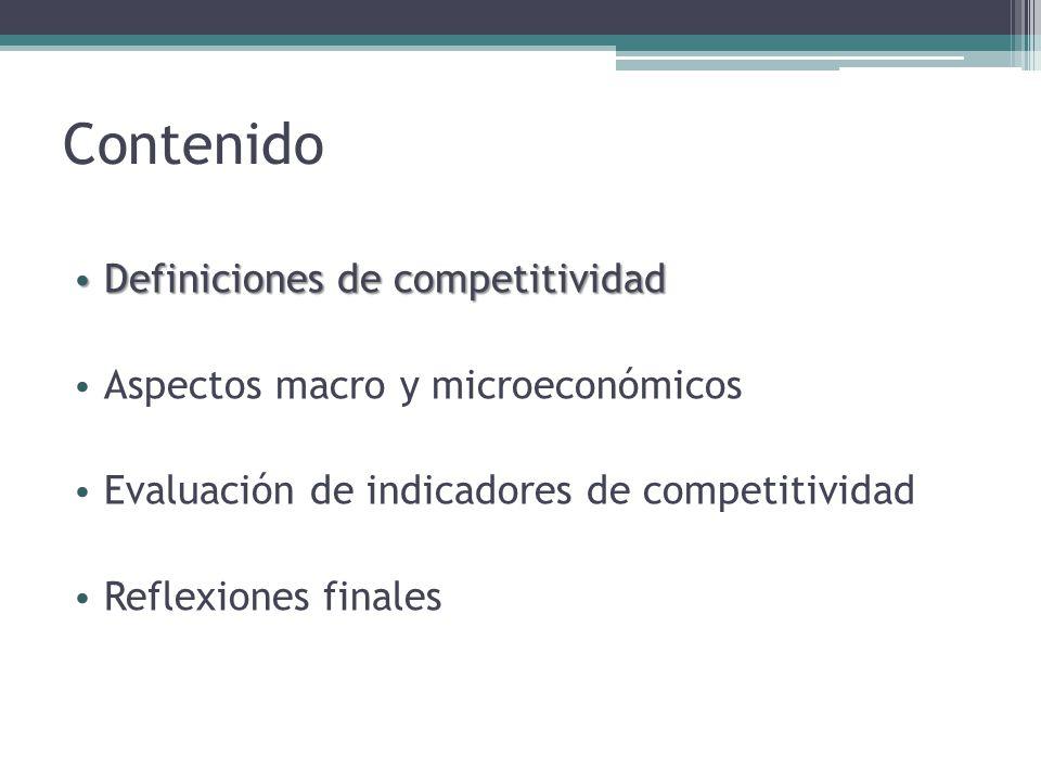 Contenido Definiciones de competitividad Definiciones de competitividad Aspectos macro y microeconómicos Evaluación de indicadores de competitividad Reflexiones finales