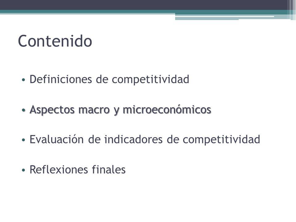 Contenido Definiciones de competitividad Aspectos macro y microeconómicos Evaluación de indicadores de competitividad Reflexiones finales Reflexiones finales