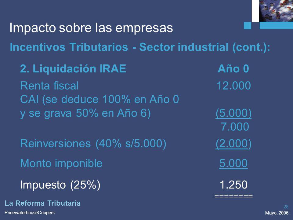 PricewaterhouseCoopers Mayo, 2006 28 La Reforma Tributaria Impacto sobre las empresas Incentivos Tributarios - Sector industrial (cont.): 2. Liquidaci