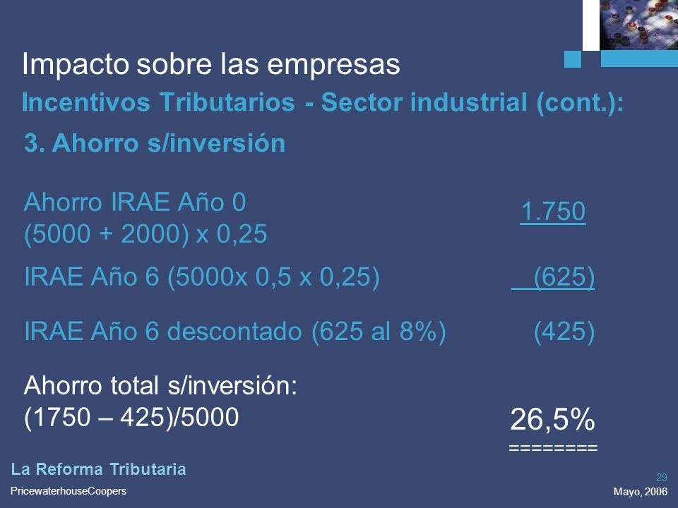 PricewaterhouseCoopers Mayo, 2006 29 La Reforma Tributaria Impacto sobre las empresas Incentivos Tributarios - Sector industrial (cont.): 3. Ahorro s/