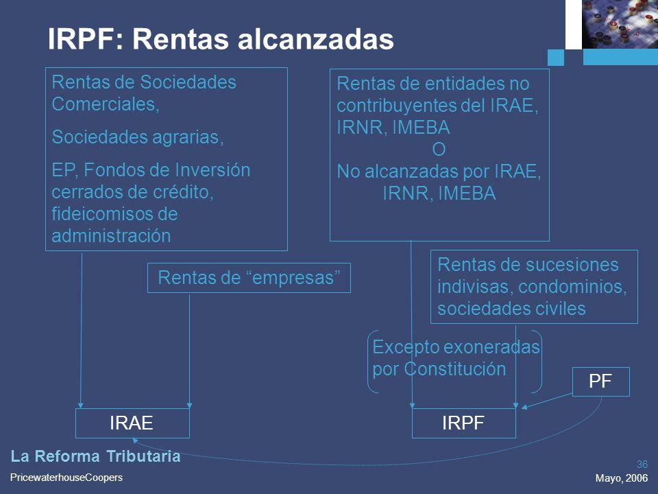 PricewaterhouseCoopers Mayo, 2006 36 La Reforma Tributaria Rentas de Sociedades Comerciales, Sociedades agrarias, EP, Fondos de Inversión cerrados de