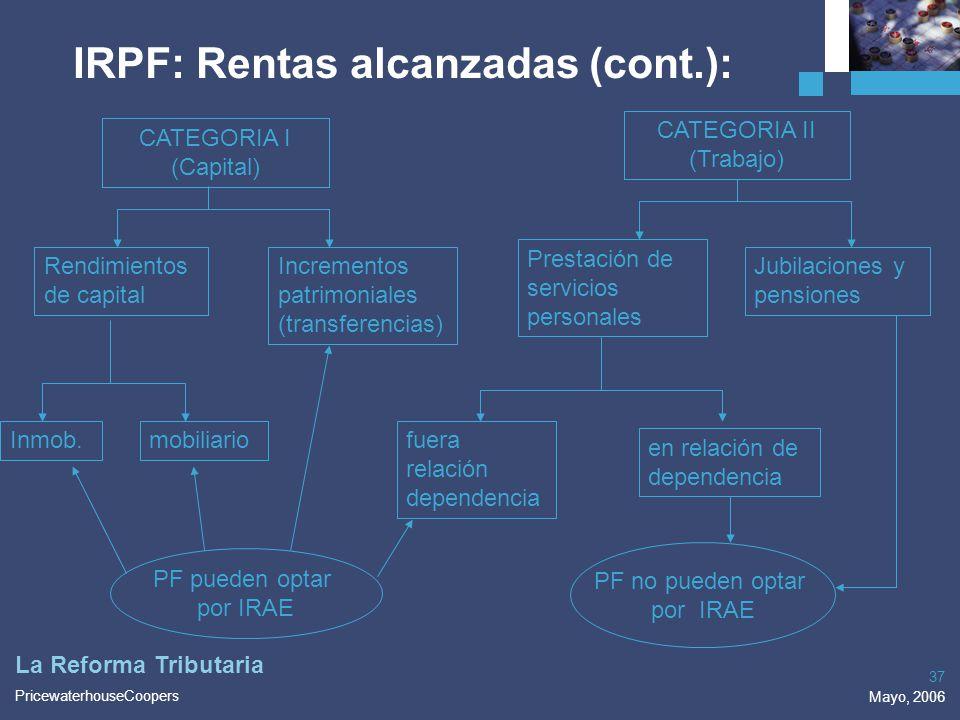 PricewaterhouseCoopers Mayo, 2006 37 La Reforma Tributaria IRPF: Rentas alcanzadas (cont.): CATEGORIA I (Capital) CATEGORIA II (Trabajo) Rendimientos