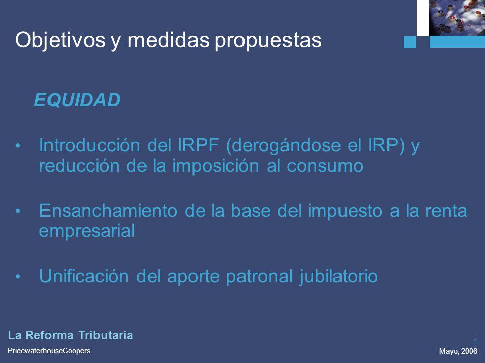 PricewaterhouseCoopers Mayo, 2006 4 La Reforma Tributaria EQUIDAD Introducción del IRPF (derogándose el IRP) y reducción de la imposición al consumo E