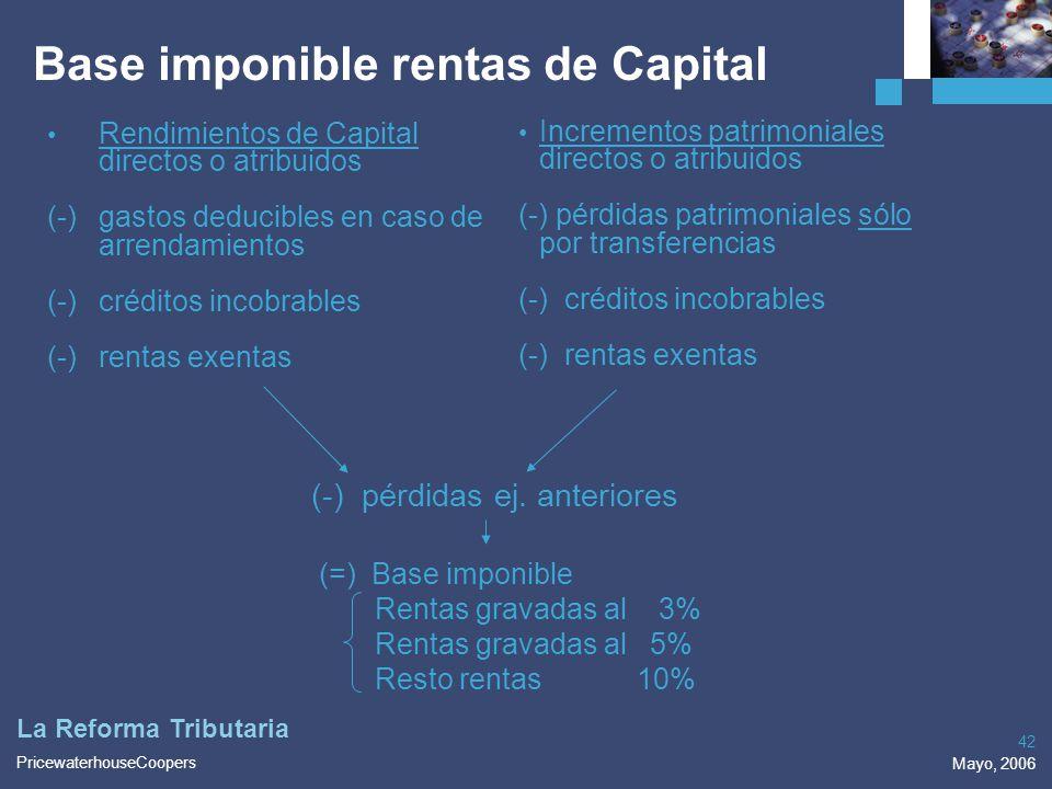 PricewaterhouseCoopers Mayo, 2006 42 La Reforma Tributaria Base imponible rentas de Capital Rendimientos de Capital directos o atribuidos (-)gastos de