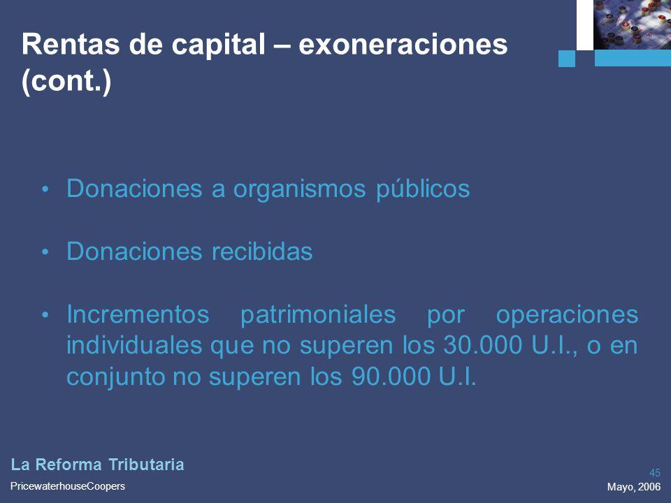 PricewaterhouseCoopers Mayo, 2006 45 La Reforma Tributaria Rentas de capital – exoneraciones (cont.) Donaciones a organismos públicos Donaciones recib