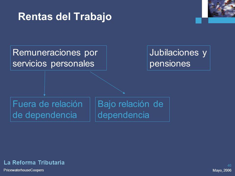 PricewaterhouseCoopers Mayo, 2006 46 La Reforma Tributaria Rentas del Trabajo Remuneraciones por servicios personales Jubilaciones y pensiones Fuera d
