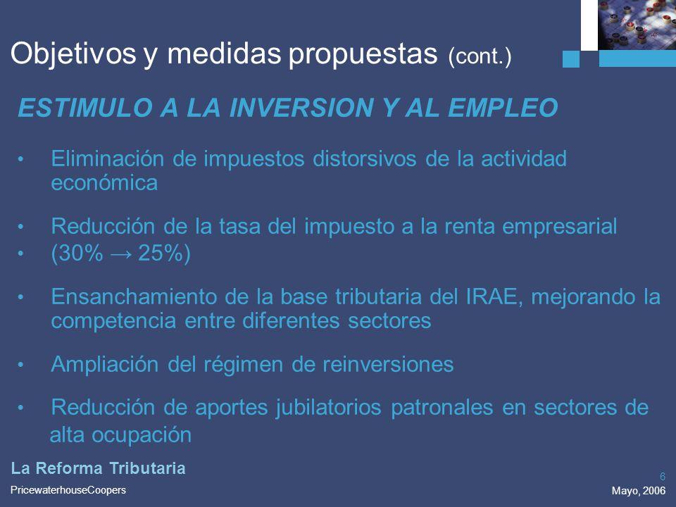 PricewaterhouseCoopers Mayo, 2006 6 La Reforma Tributaria ESTIMULO A LA INVERSION Y AL EMPLEO Eliminación de impuestos distorsivos de la actividad eco