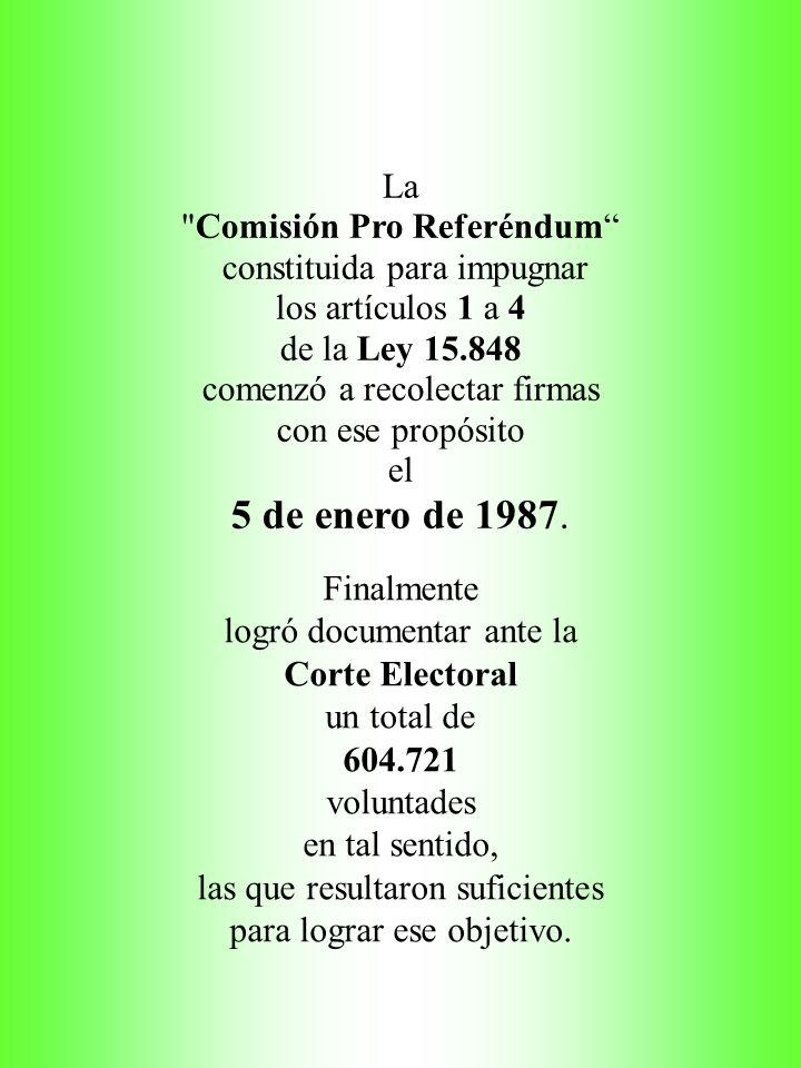 La Comisión Pro Referéndum constituida para impugnar los artículos 1 a 4 de la Ley 15.848 comenzó a recolectar firmas con ese propósito el 5 de enero de 1987.