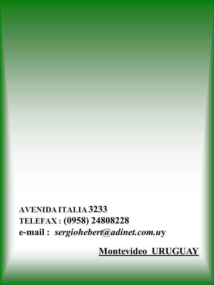 AVENIDA ITALIA 3233 TELEFAX : (0958) 24808228 e-mail : sergiohebert@adinet.com.uy Montevideo URUGUAY