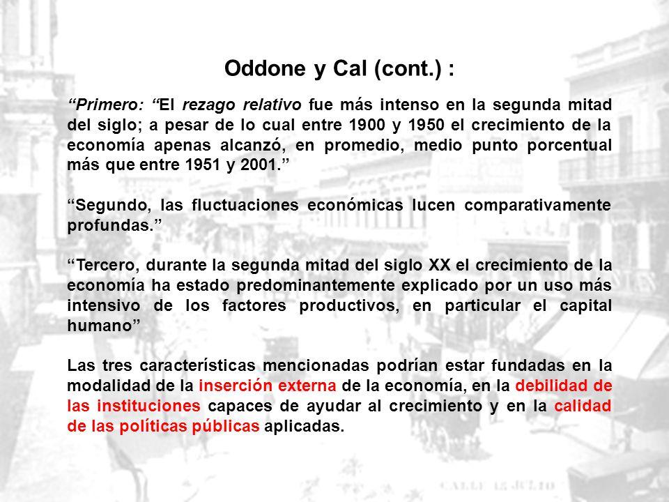 Oddone y Cal en INSTITUCIONES Y POLÍTICAS EN EL DECLIVE ECONÓMICO DE URUGUAY DURANTE EL SIGLO XX, julio 2006 Según la evidencia reunida por este traba