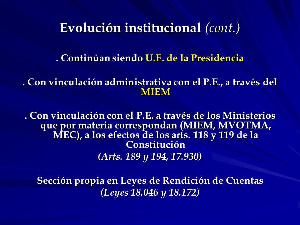 Evolución institucional (cont.).Continúan siendo U.E.