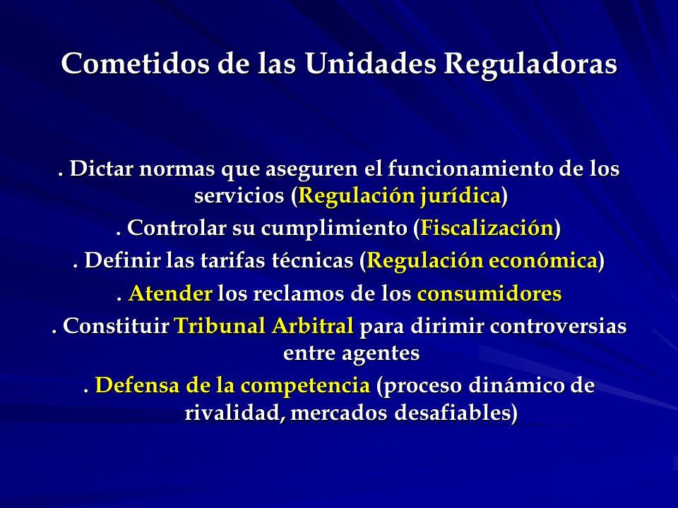 Cometidos de las Unidades Reguladoras.