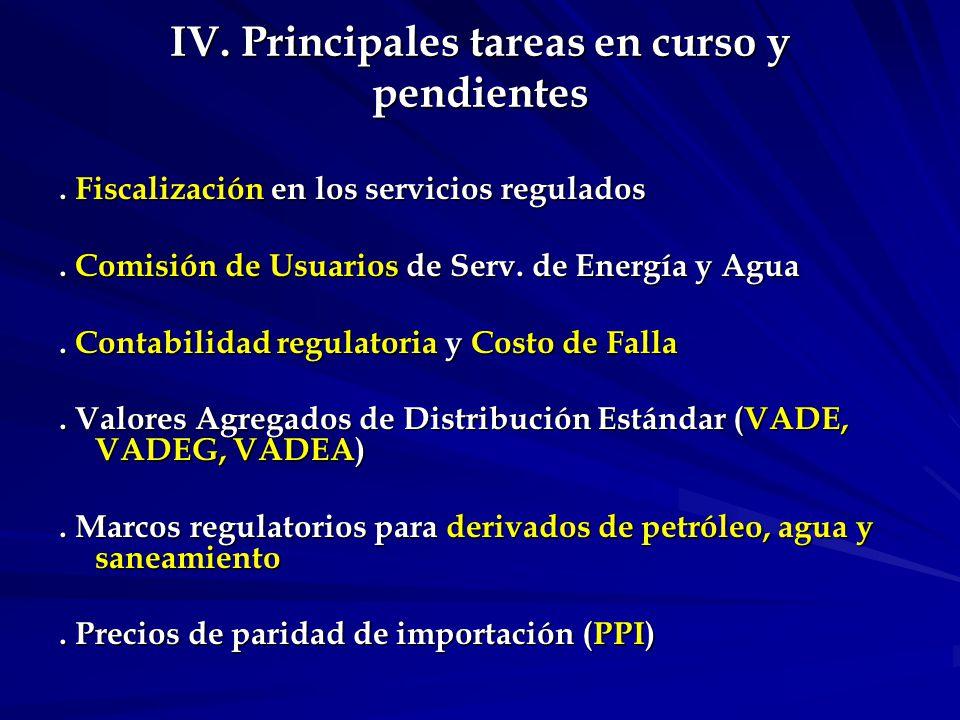 IV.Principales tareas en curso y pendientes. Fiscalización en los servicios regulados.