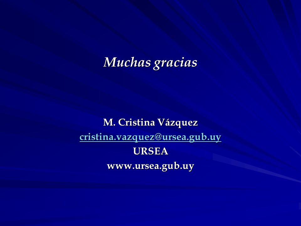 Muchas gracias M. Cristina Vázquez cristina.vazquez@ursea.gub.uy URSEAwww.ursea.gub.uy