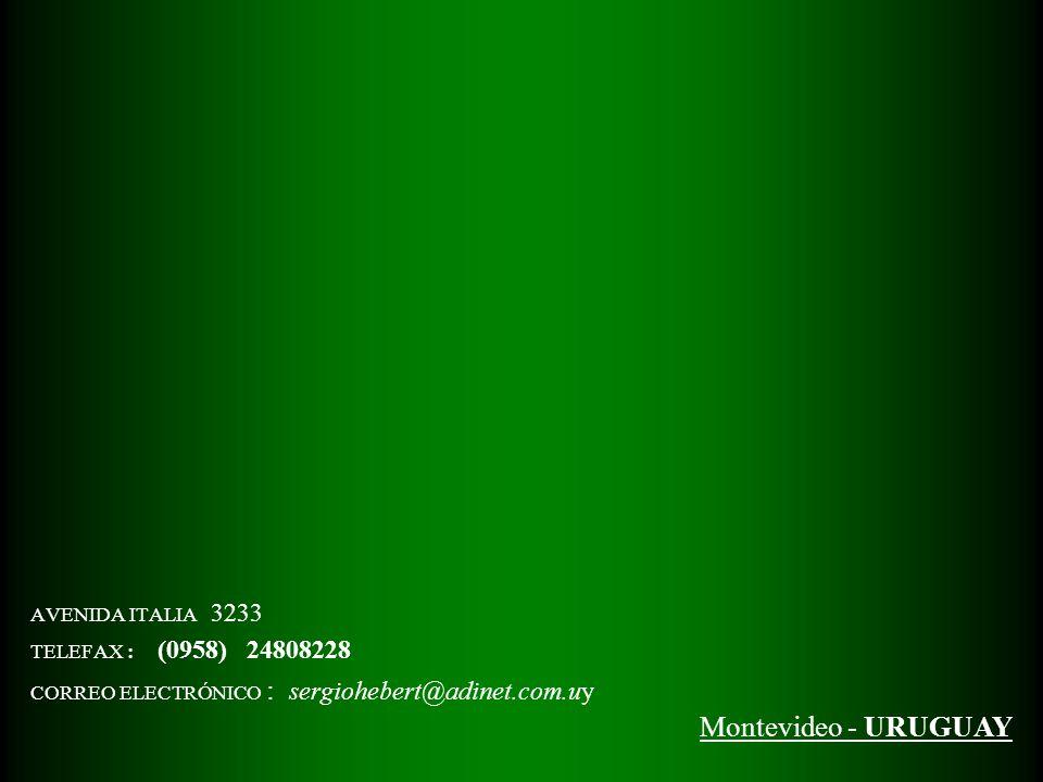 AVENIDA ITALIA 3233 TELEFAX : (0958) 24808228 CORREO ELECTRÓNICO : sergiohebert@adinet.com.uy Montevideo - URUGUAY