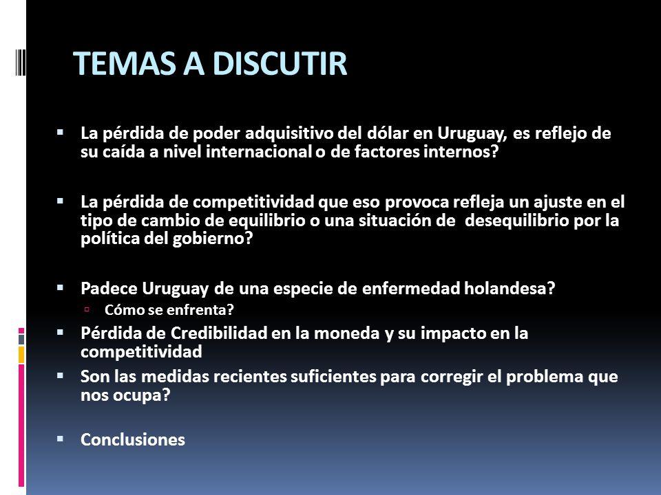 TEMAS A DISCUTIR La pérdida de poder adquisitivo del dólar en Uruguay, es reflejo de su caída a nivel internacional o de factores internos? La pérdida