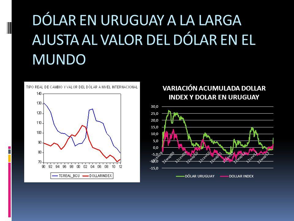 DÓLAR EN URUGUAY A LA LARGA AJUSTA AL VALOR DEL DÓLAR EN EL MUNDO