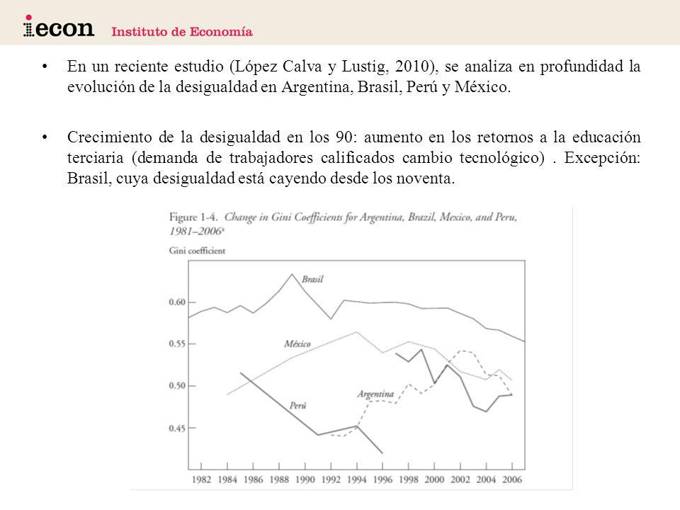En un reciente estudio (López Calva y Lustig, 2010), se analiza en profundidad la evolución de la desigualdad en Argentina, Brasil, Perú y México.