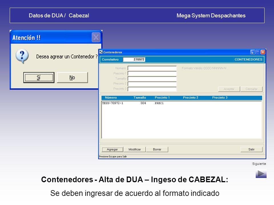 Datos de DUA / Cabezal Mega System Despachantes Datos 2 - Alta de DUA – Ingeso de CABEZAL: Transporte, Usuario de Zona (opcional), cant.