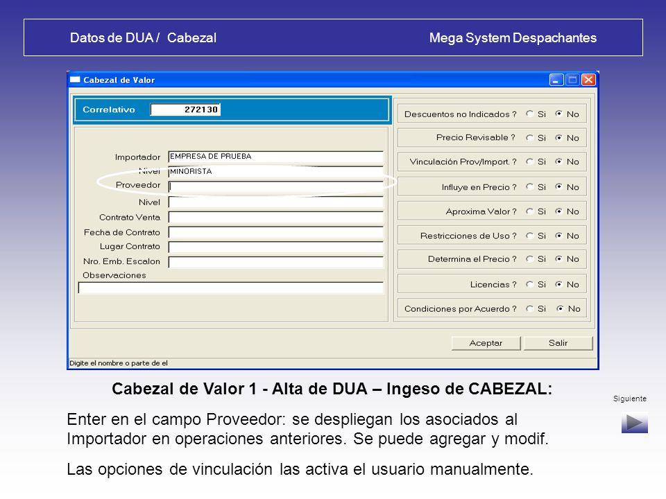 Datos de DUA / Cabezal Mega System Despachantes Certificados - Alta de DUA – Ingeso de CABEZAL: Pantalla de Mantenimiento de Certificados del Cabezal