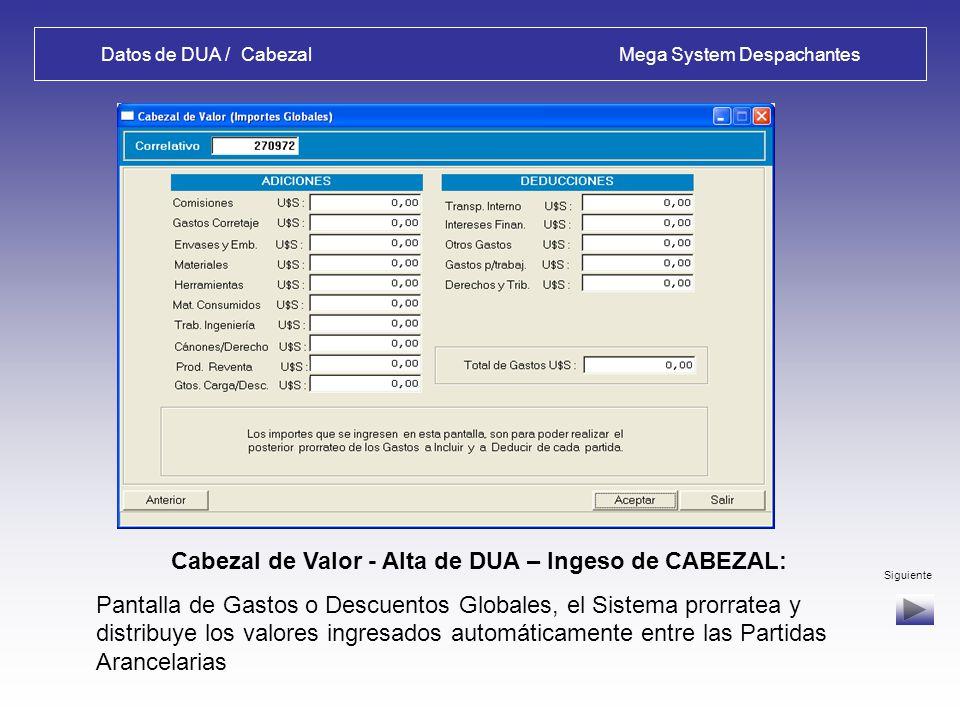 Datos de DUA / Cabezal Mega System Despachantes Cabezal de Valor 1 - Alta de DUA – Ingeso de CABEZAL: Configuración de un Proveedor Anterior