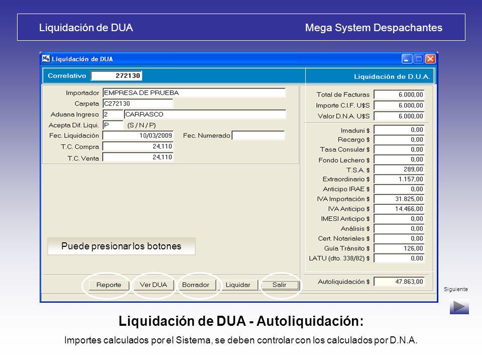 Liquidación de DUA Mega System Despachantes Liquidación de DUA : Seleccione opción – P = Prueba; N = No acepta diferencias; S = Acepta Diferencias de Liquidación Siguiente