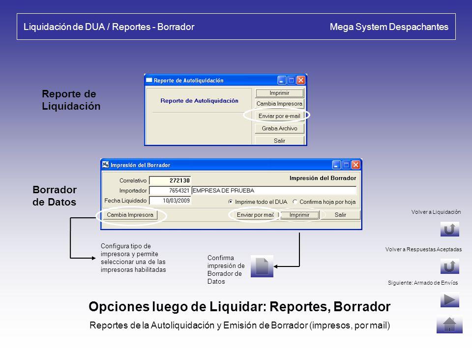 Liquidación de DUA Mega System Despachantes Liquidación de DUA - Autoliquidación: Importes calculados por el Sistema, se deben controlar con los calcu