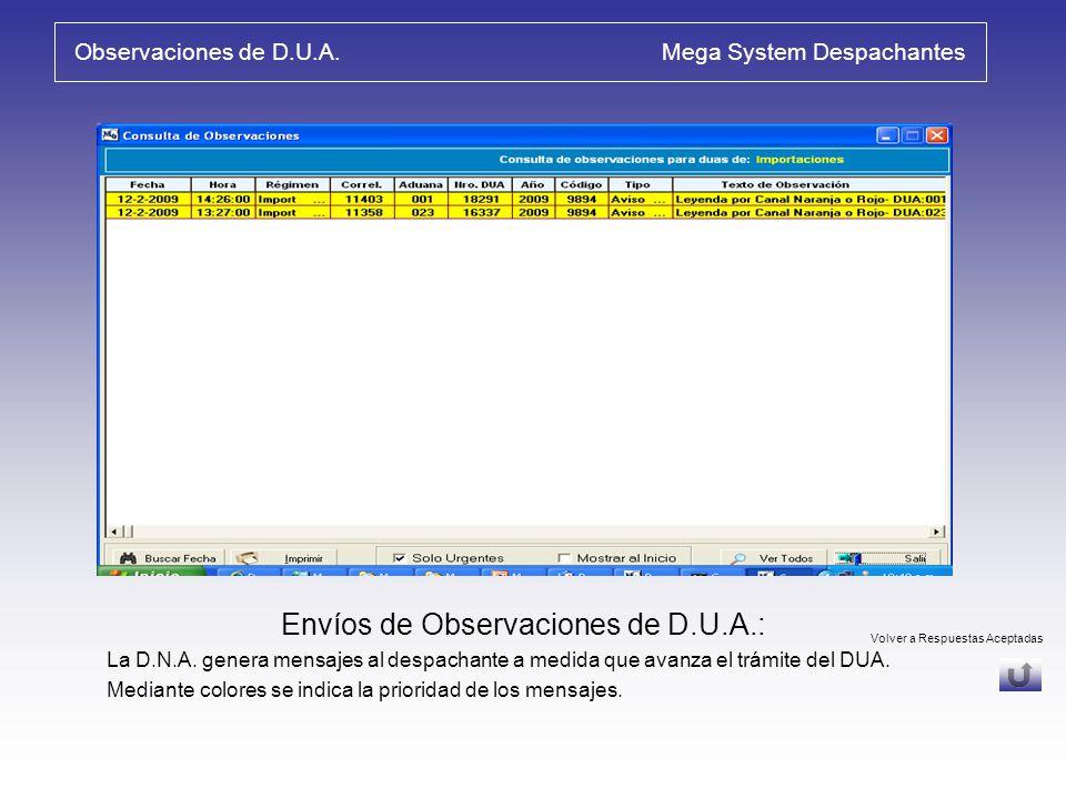 Transmisión / Respuestas Aceptadas Mega System Despachantes Consulta de Envíos – Respuestas Aceptadas: Se puede: comparar Autoliquidación con Liquidac