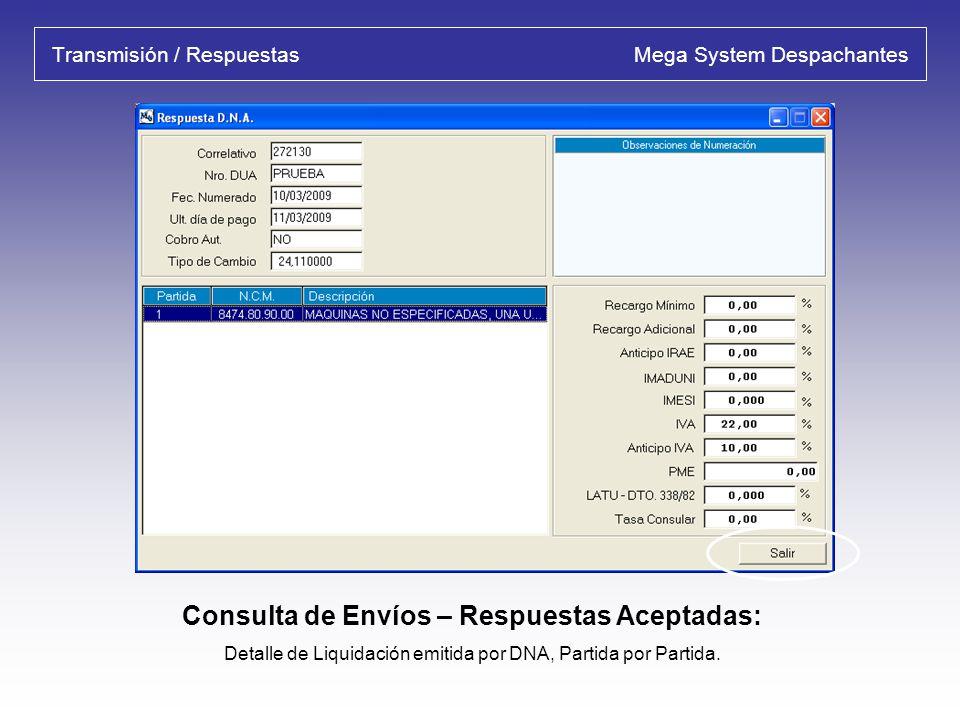 Liquidación por Partida Mega System Despachantes Detalle de Gastos por Partida: Detalla por partida la liquidación de los gastos del D.U.A. y permite