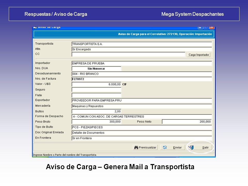 Transmisión / Respuestas Mega System Despachantes Consulta de Envíos – Respuestas Aceptadas: Detalle de Liquidación emitida por DNA, Partida por Partida.