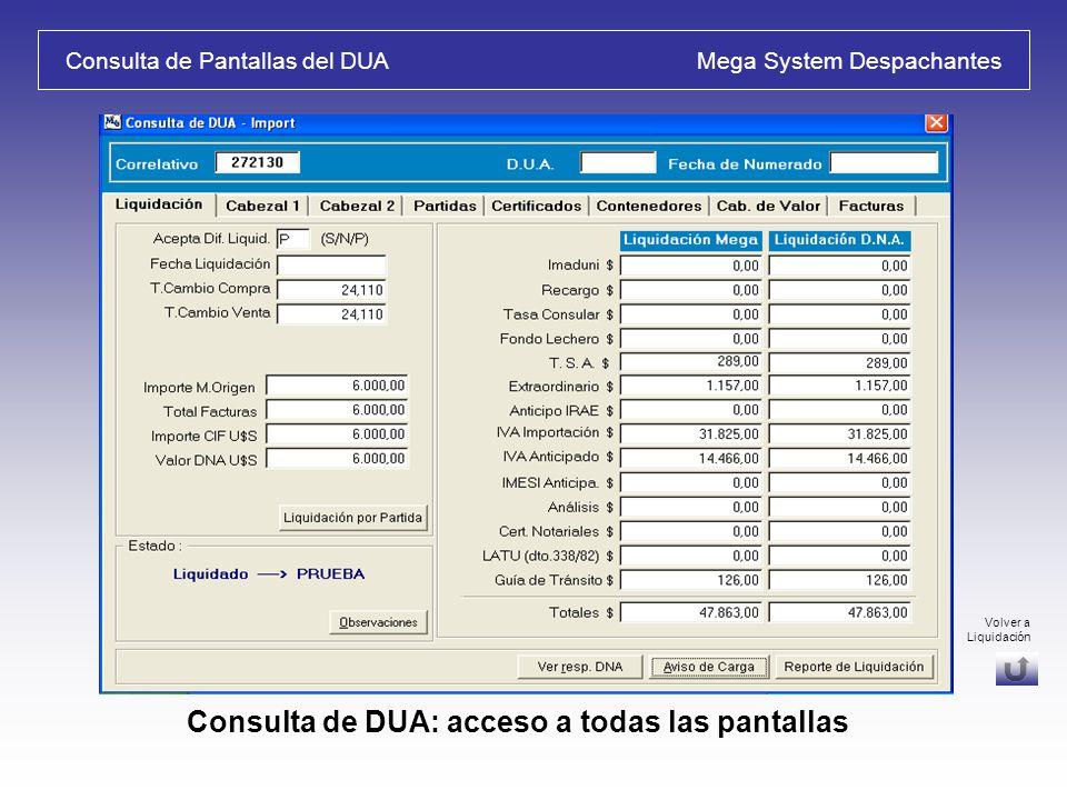 Generar Correo electrónico desde el Sistema Mega System Despachantes Envíos por mail: Borrador de datos – Avisos de Carga Volver a Reportes / Opciones Volver a Liquidación