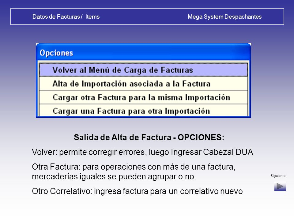 Datos de Facturas / Items Mega System Despachantes Alta de Factura – Ingeso de ITEMS: Numeración aut. de items y control de Valor Total vs. Items Sigu