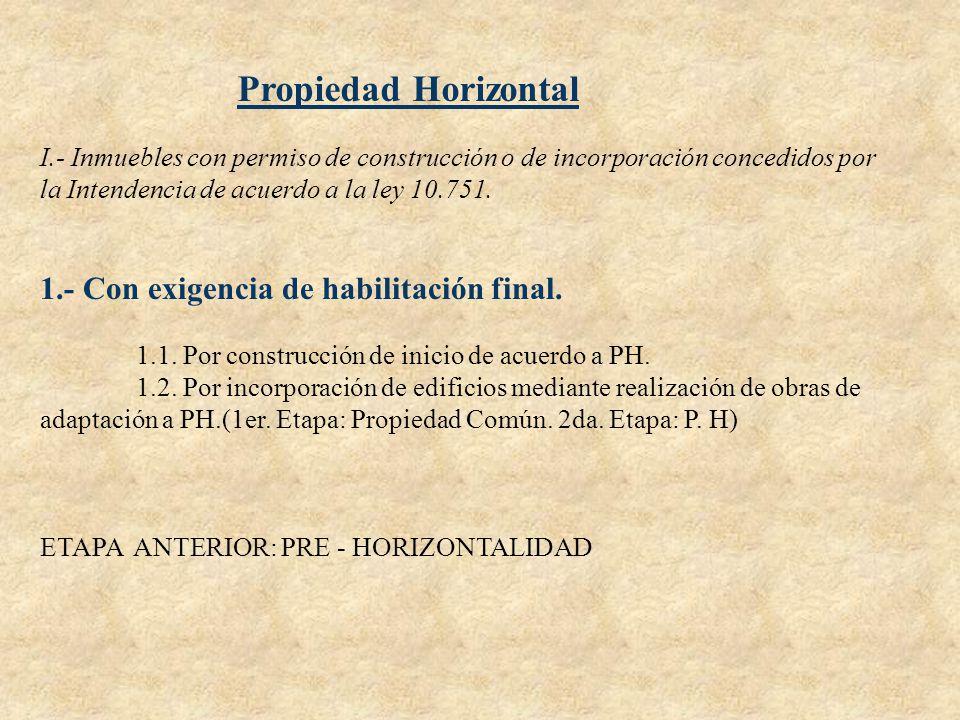 Propiedad Horizontal I.- Inmuebles con permiso de construcción o de incorporación concedidos por la Intendencia de acuerdo a la ley 10.751. 1.- Con ex
