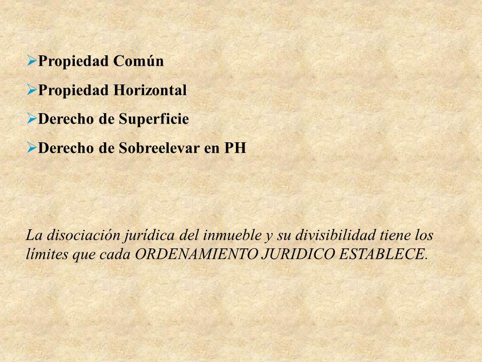Propiedad Común Propiedad Horizontal Derecho de Superficie Derecho de Sobreelevar en PH La disociación jurídica del inmueble y su divisibilidad tiene