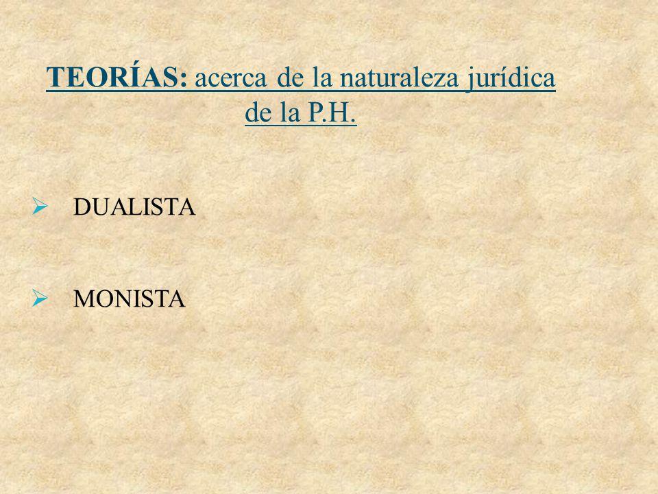 TEORÍAS: acerca de la naturaleza jurídica de la P.H. DUALISTA MONISTA