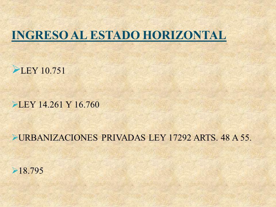 INGRESO AL ESTADO HORIZONTAL LEY 10.751 LEY 14.261 Y 16.760 URBANIZACIONES PRIVADAS LEY 17292 ARTS. 48 A 55. 18.795