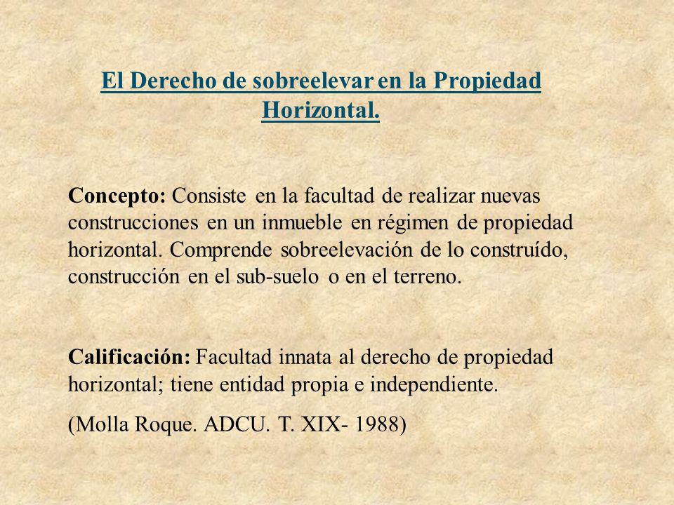 El Derecho de sobreelevar en la Propiedad Horizontal. Concepto: Consiste en la facultad de realizar nuevas construcciones en un inmueble en régimen de