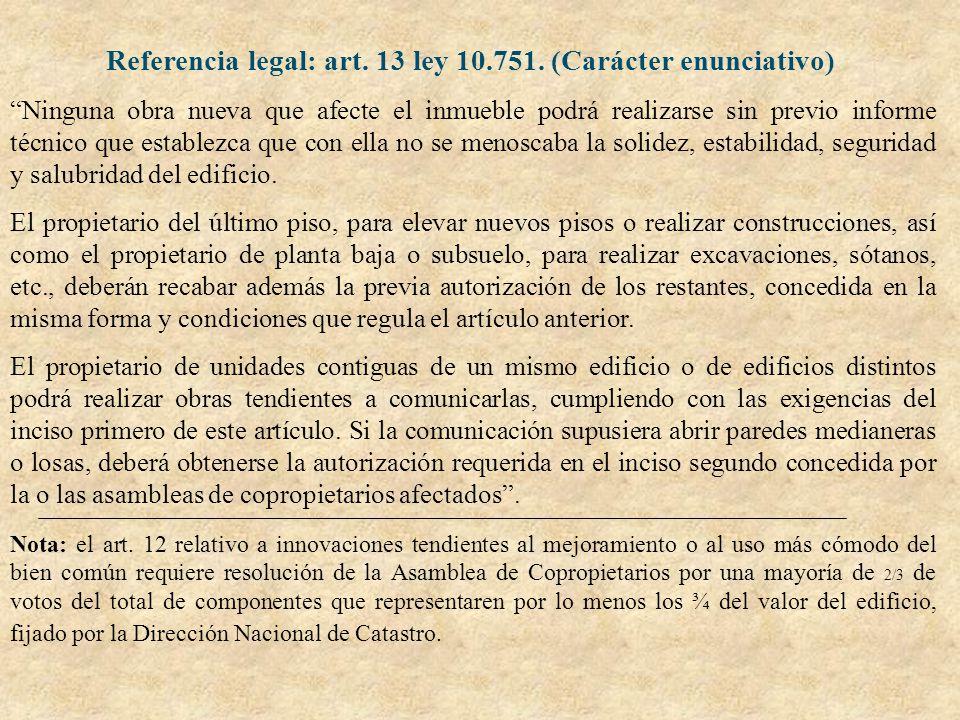 Referencia legal: art. 13 ley 10.751. (Carácter enunciativo) Ninguna obra nueva que afecte el inmueble podrá realizarse sin previo informe técnico que