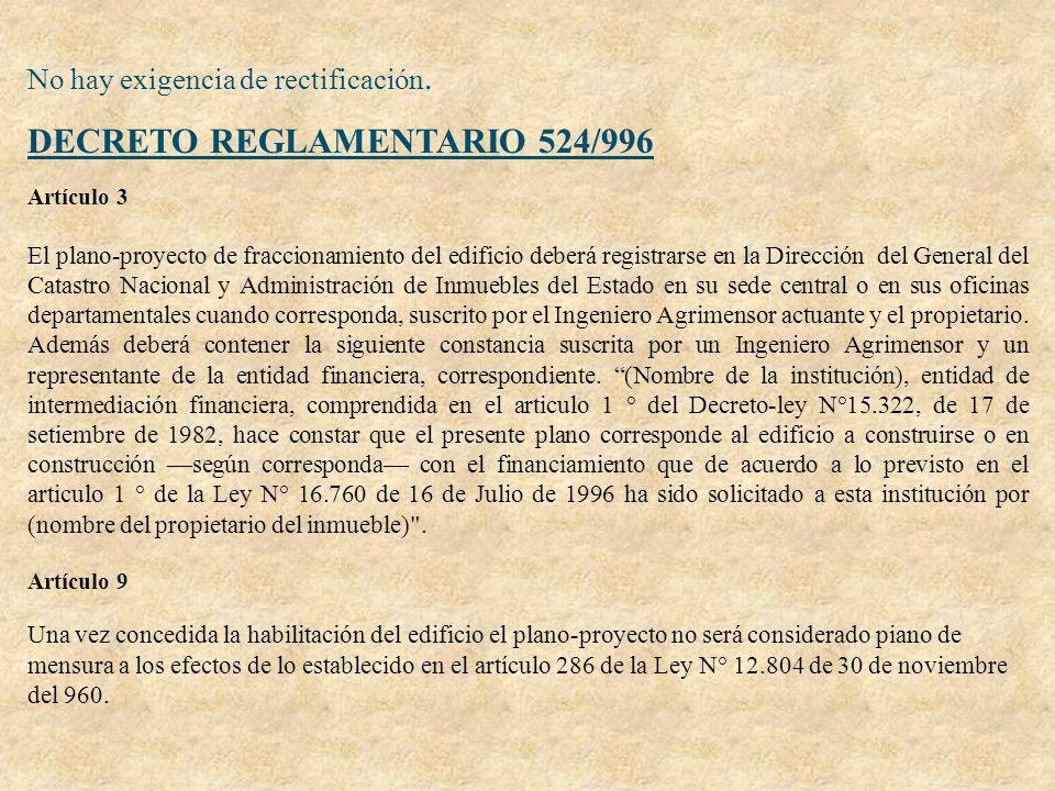 No hay exigencia de rectificación. DECRETO REGLAMENTARIO 524/996 Artículo 3 El plano-proyecto de fraccionamiento del edificio deberá registrarse en la
