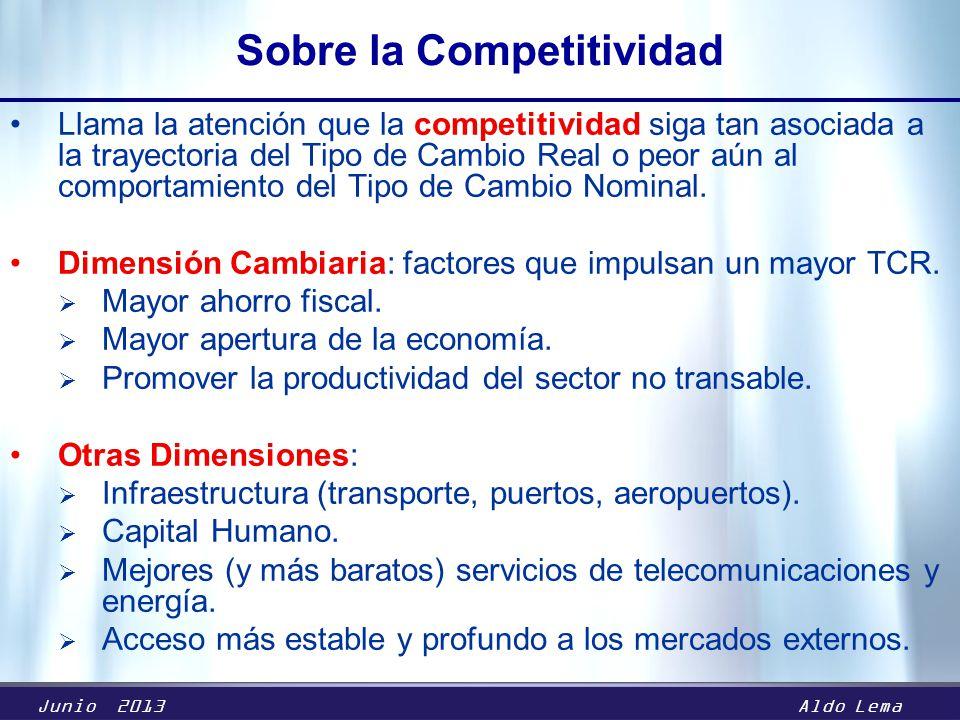 Junio 2013Aldo Lema Sobre la Competitividad Llama la atención que la competitividad siga tan asociada a la trayectoria del Tipo de Cambio Real o peor aún al comportamiento del Tipo de Cambio Nominal.