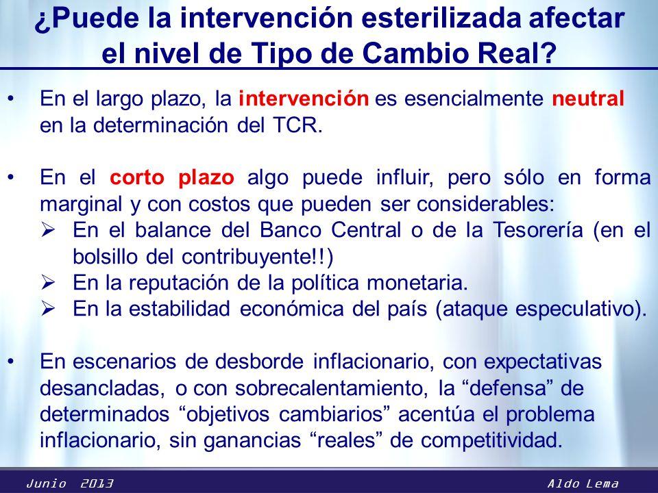 Junio 2013Aldo Lema ¿Puede la intervención esterilizada afectar el nivel de Tipo de Cambio Real.