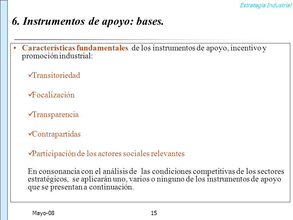 Estrategia Industrial Mayo-0815 6. Instrumentos de apoyo: bases.